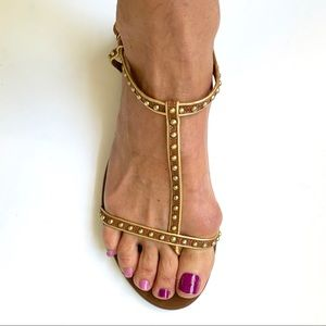 J. CREW BROWN LEATHER W/ GOLD SANDALS